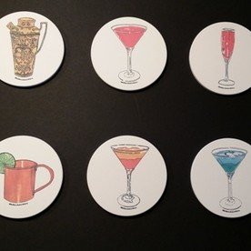set of 6 - vintage cocktail coasters