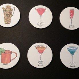 set of 6 - vintage cocktail coasters
