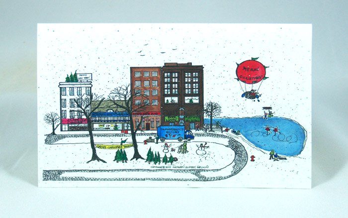 Christmas in City notecard