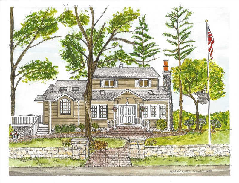 2020-Linda-H.-Pen-and-Ink-Illustration-with-Water-Color-of-Home-in-Lake-Geneva,-WI